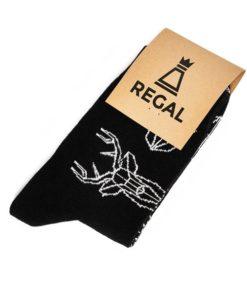 Ciepłe czarne skarpetki z jeleniem Regal Cotton - zdjęcie produktu 1