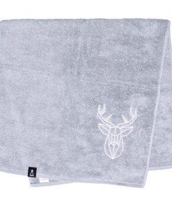 Bawełniany jasnoszary ręcznik z haftowanym białym jeleniem
