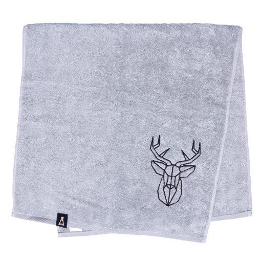 Bawełniany jasnoszary ręcznik z haftowanym czarnym jeleniem