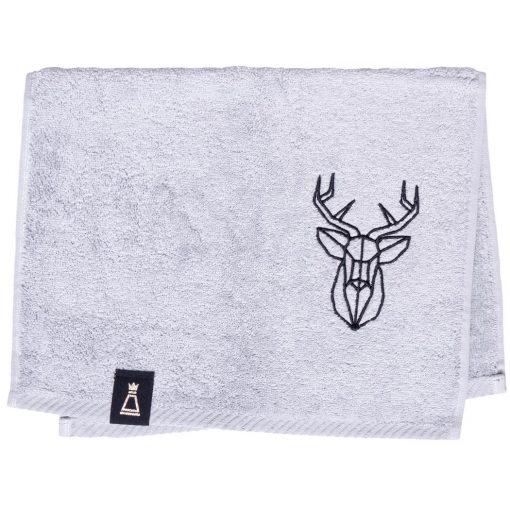 Bawełniany mały jasnoszary ręcznik z haftowanym czarnym jeleniem