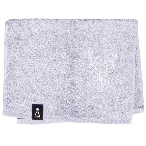 Bawełniany mały jasnoszary ręcznik z haftowanym białym jeleniem