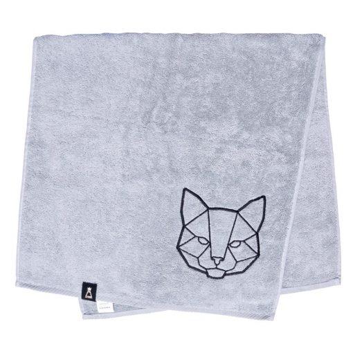 Bawełniany jasnoszary ręcznik z haftowanym czarnym kotem