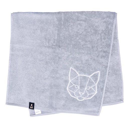 Bawełniany jasnoszary ręcznik z haftowanym białym kotem