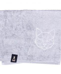 Bawełniany mały jasnoszary ręcznik z haftowanym białym kotem