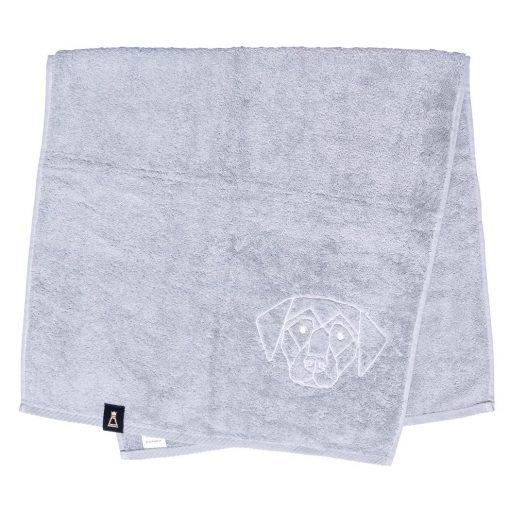 Bawełniany jasnoszary ręcznik z haftowanym białym psem