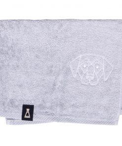 Bawełniany mały jasnoszary ręcznik z haftowanym białym psem