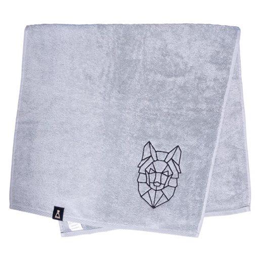 Bawełniany jasnoszary ręcznik z haftowanym czarnym wilkiem