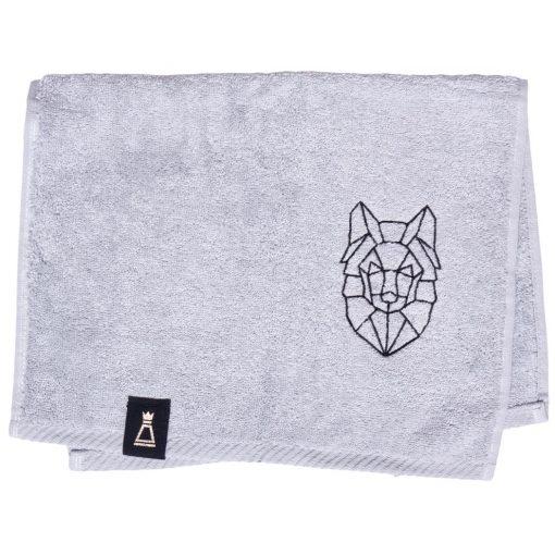 Bawełniany mały jasnoszary ręcznik z haftowanym czarnym wilkiem