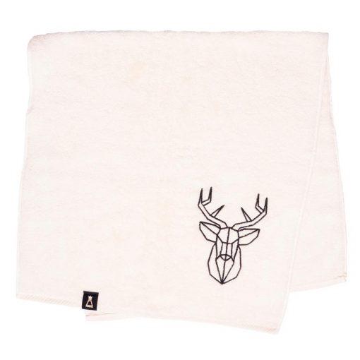 Bawełniany ecru ręcznik z haftowanym czarnym jeleniem
