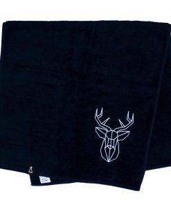 Bawełniany czarny ręcznik z haftowanym białym jeleniem