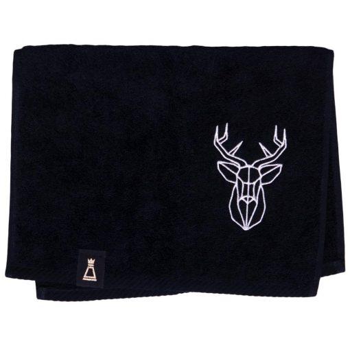 Bawełniany mały czarny ręcznik z haftowanym białym jeleniem