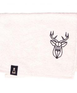 Bawełniany mały ecru ręcznik z haftowanym czarnym jeleniem
