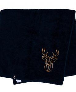Bawełniany czarny ręcznik z haftowanym złotym jeleniem