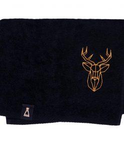 Bawełniany mały czarny ręcznik z haftowanym złotym jeleniem