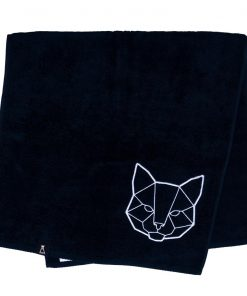 Bawełniany czarny ręcznik z haftowanym białym kotem