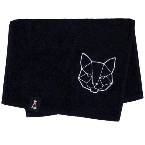 Bawełniany mały czarny ręcznik z haftowanym białym kotem