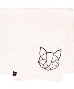 Bawełniany ecru ręcznik z haftowanym czarnym kotem