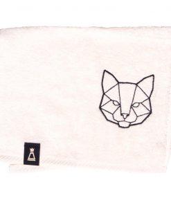 Bawełniany mały ecru ręcznik z haftowanym czarnym kotem