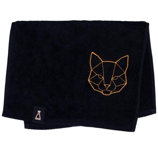 Bawełniany mały czarny ręcznik z haftowanym złotym kotem