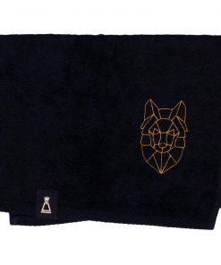 Bawełniany mały czarny ręcznik z haftowanym złotym wilkiem
