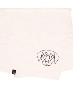 Bawełniany ecru ręcznik z haftowanym czarnym psem