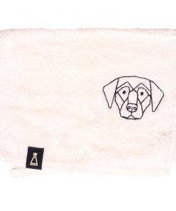 Bawełniany mały ecru ręcznik z haftowanym czarnym psem