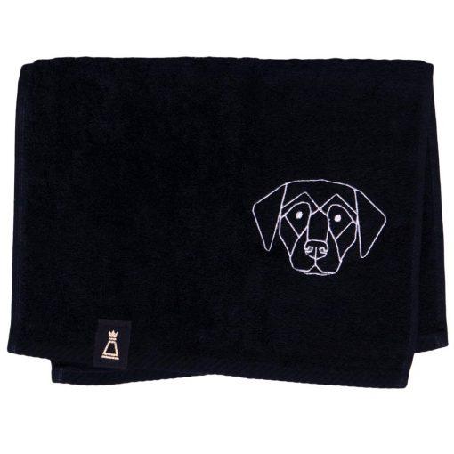 Bawełniany mały czarny ręcznik z haftowanym białym psem