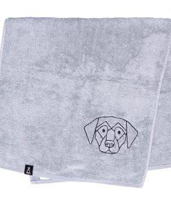 Bawełniany jasnoszary ręcznik z haftowanym czarnym psem