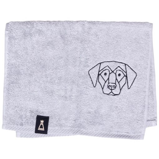 Bawełniany mały jasnoszary ręcznik z haftowanym czarnym psem
