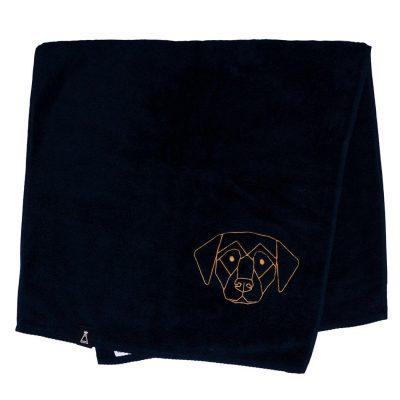 Bawełniany czarny ręcznik z haftowanym złotym psem