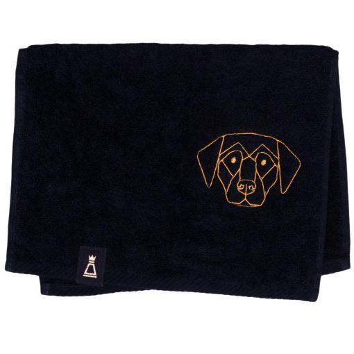 Bawełniany mały czarny ręcznik z haftowanym złotym psem