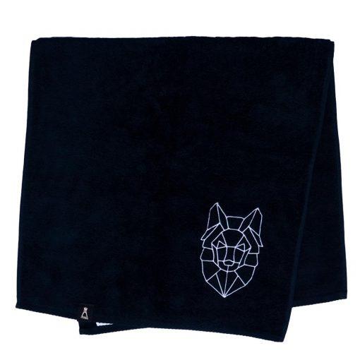 Bawełniany czarny ręcznik z haftowanym białym wilkiem