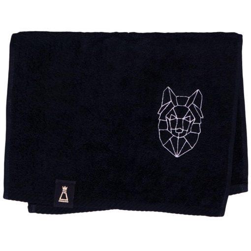Bawełniany mały czarny ręcznik z haftowanym białym wilkiem