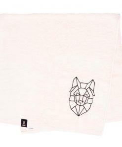 Bawełniany ecru ręcznik z haftowanym czarnym wilkiem