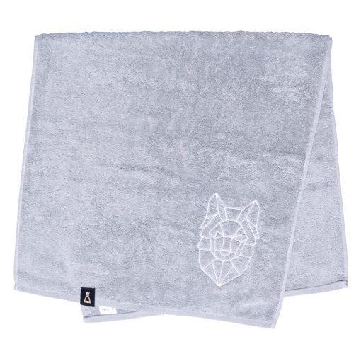 Bawełniany mały jasnoszary ręcznik z haftowanym białym wilkiem