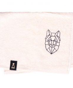 Bawełniany mały ecru ręcznik z haftowanym czarnym wilkiem